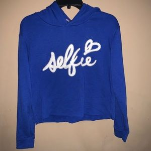 Juicy couture blue cropped long sleeve hoo…